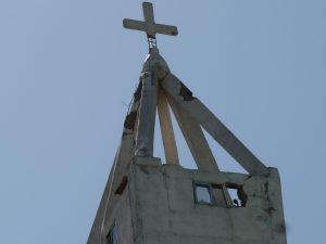 Beschädigte Kirche in Mubi